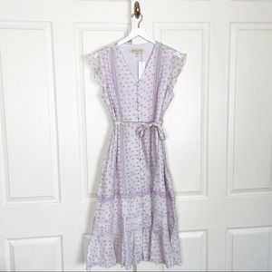 DOLAN Floral Flutter Sleeve Lilac Midi Dress NWT